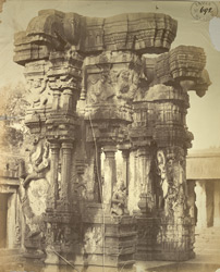 Carved pillars from a ruined mandapa in the Narasimha Temple, Ahobilam 2626